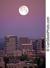 Moon Over Portland - Full Moonrise Over Portland, Oregon -...