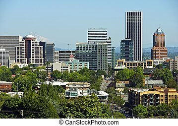 Downtown Portland - Clear Summer Day Mt Hood in the...