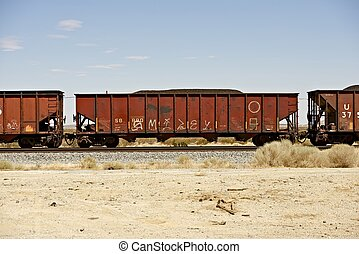 Cargo Railroad Cars in Southern California, USA....
