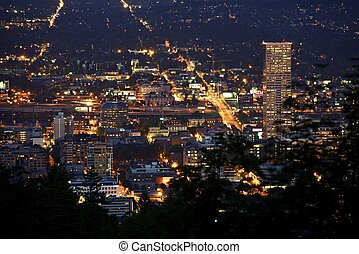 Portland Oregon USA - Portland Downtown Night Time Panorama....