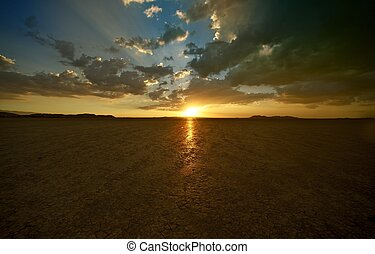 Mojave Desert Sunset - El Mirage Dry Lake, California...