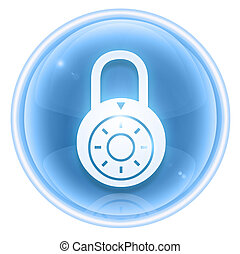 Lock off, icon ice, isolated on white background