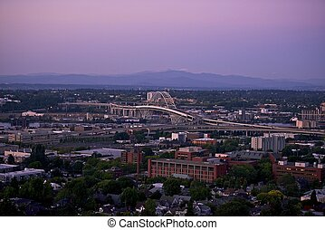 Portland Panorama with Fremont Bridge. Portland, Oregon USA....