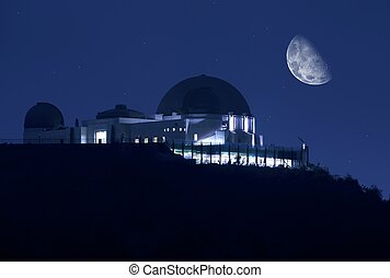 Griffith Observatory at Night Clear Sky with Stars and the...