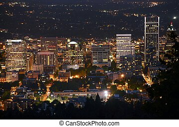 Portland at Night - Downtown Portland, Oregon. American...