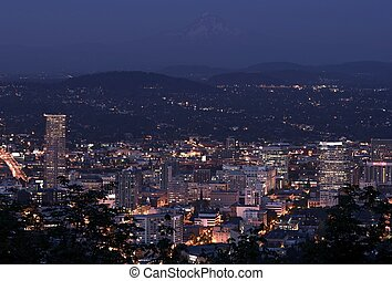 Portland Overlook at Night. City of Portland, Oregon, USA....