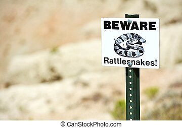 Beware Rattlesnakes Warning Sign Signage Photo Collection
