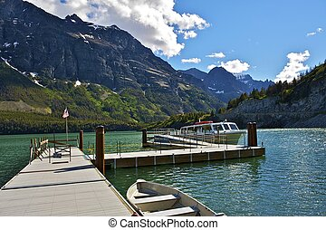 St Mary Lake Cruises. Saint Mary Lake in Glacier National...