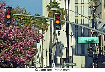 Rodeo Drive Traffic Lights - Rodeo Drive Street Sign and...