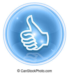 thumb up icon ice, approval Hand Gesture, isolated on white background.