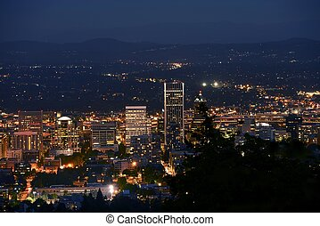 Portland Panorama at Night. Portland, Oregon, U.S.A. Cities...