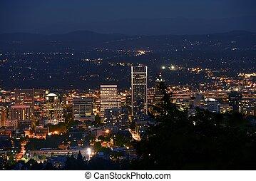 Downtown Portland Closeup at Night. Portland, Oregon, United...
