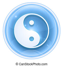 yin yang symbol icon ice, isolated on white background