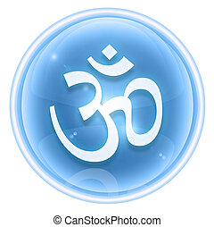 Om Symbol icon ice, isolated on white background