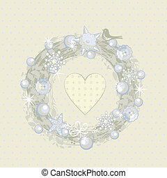 Christmas Wreath - Decorative Christmas wreath on polka...