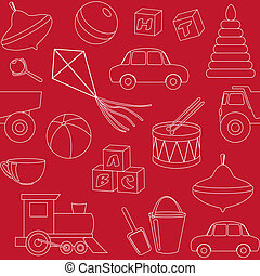 Seamless pattern with toys silhouettes