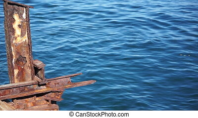 Rusty Steel Structure Ocean Dolly - Dolly shot of an old,...