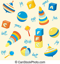 Seamless pattern with basic toys - Bright seamless pattern...