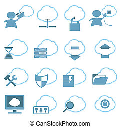 Cloud Hosting Icons set Vector Illustration