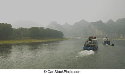 Sailing on the Lijiang River in Yangshuo, China