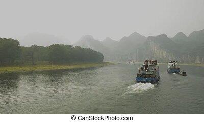 Sailing on the Lijiang River in Yangshuo, China