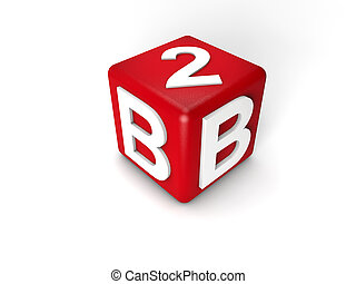 B2B - Business to Business cube over white background