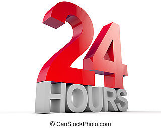 24 hours over white background
