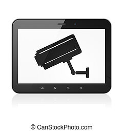 Security concept: Cctv Camera on tablet pc computer -...