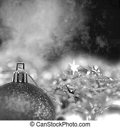 Bright Christmas background in black and white - background...