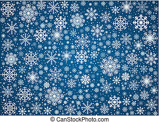 Vector frosty snowflakes background - Blue background maked...