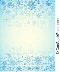 Vector frosty snowflakes background - Blue light background...