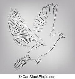 Abstract vector illustration of a sketched dove