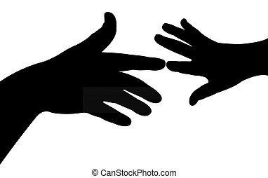 Vector illustration af two hands reaching for each other