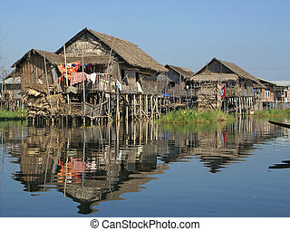 Inle Lake, Myanmar, Asia - Typical villages on Inle Lake,...
