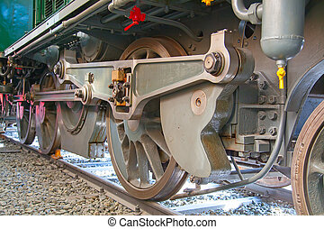 Steam loco - Fragment of the steam engine of the old train