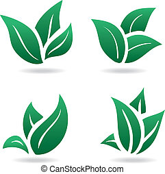 Green sign, eco leaves. natural product
