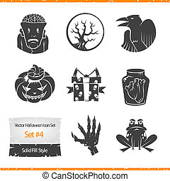 Halloween Vector Icons Set Filled Silhouette