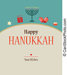 Happy Hanukkah greeting card design - Happy Hanukkah...