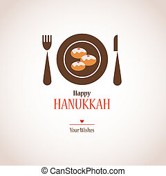 hanukkah dinner invitation,  traditional donuts on plate
