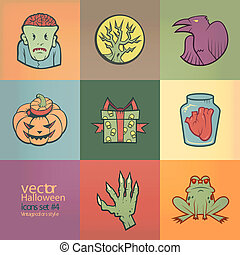 Halloween Vector Icons Set Vintage Colors Style