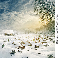 Winter - Idylic winter house at sunset Texture added