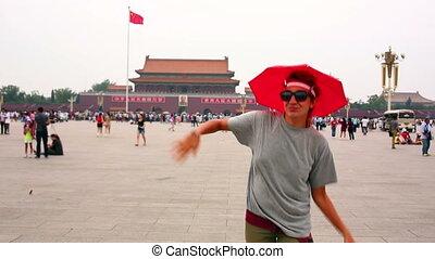 Female tourist at Beijing, China