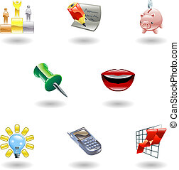 Glossy Business and Office Icon Set - A set of glossy...