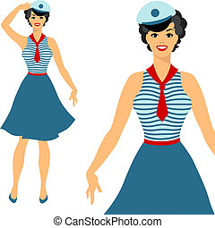 Beautiful pin up sailor girl 1950s style.