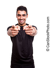 Fitness instructor pointing front over white background