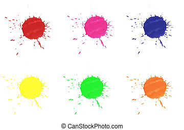 Color splashes isolated on white background