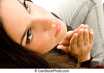 latin american model praying
