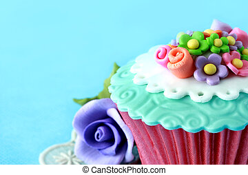 cupcake - close up of a beautiful colorful cupcake
