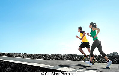 sport people running outdoor - sport - asian couple running...