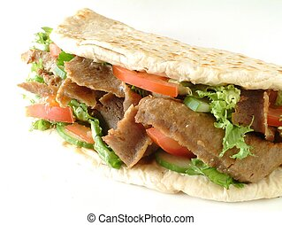 Lamb donner naan sandwhich isolated on white